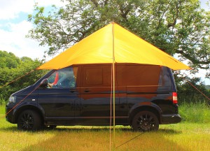 VW T5 with canopy set up in single pole ridge shape