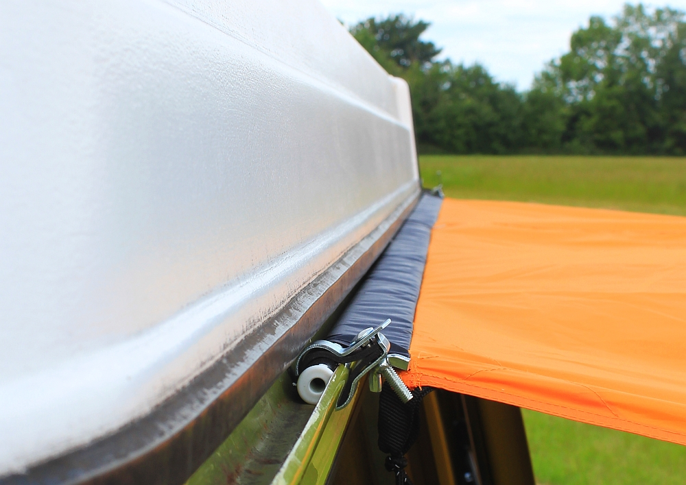 VW Camper Sun Canopy Connected To Vw Bay Via Pole Clamp Kit