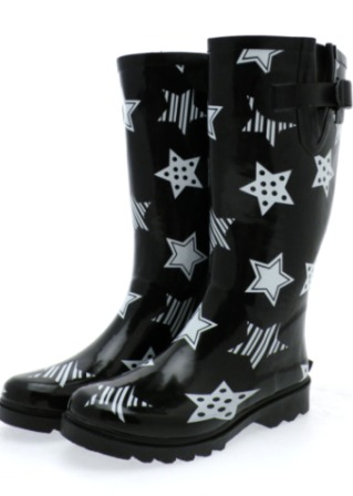 Black And White Stars. Black and White Star Wellies