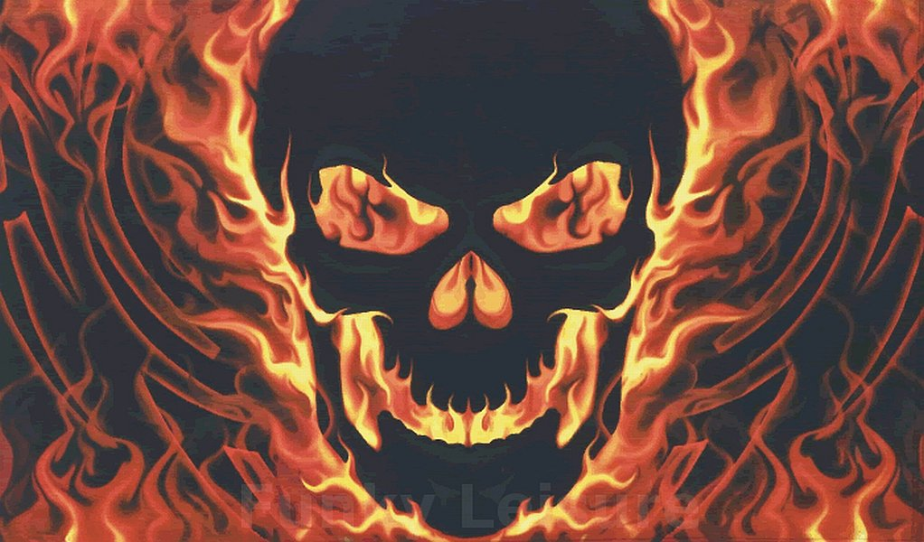 Skull With Fire Flag