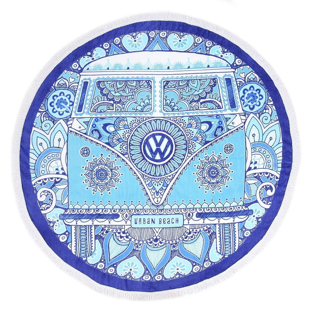 VW Campervan Round Beach Towel - Peace & Love